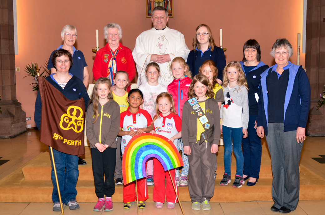 Brownies and Rainbows attend Mass to give thanks for 100 years Girl Guiding  in St John's Perth
